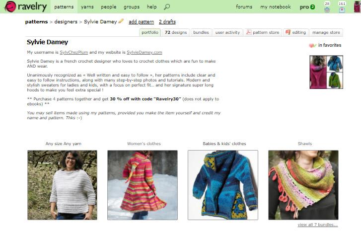 Boutique ravelry: patrons de crochet de Sylvie Damey